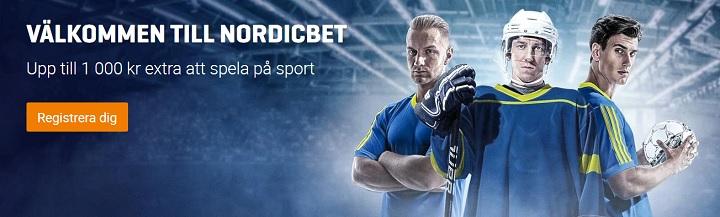 NordicBet bettingbonus 100% upp till 1000 kr